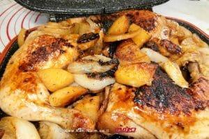 וף במחבת פסים עם תפוחי-אדמה בצל בדבש