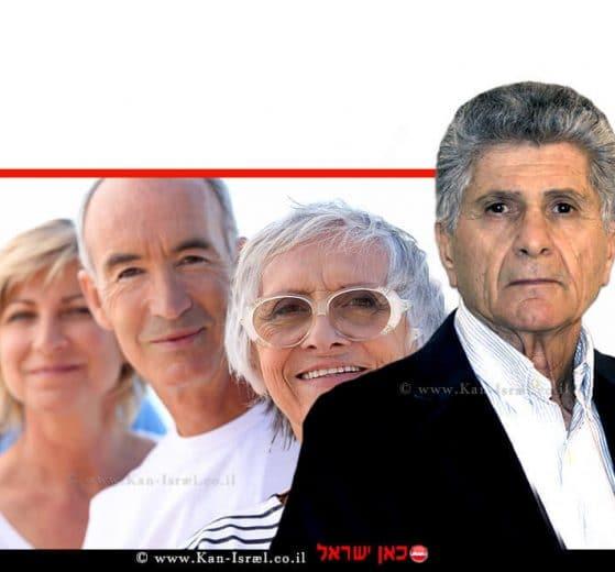 פליצ׳ה פנחס פלד יושב ראש תנועת אוֹמֶץ, ברקע: גמלאים | עיבוד צילום: שולי סונגו ©
