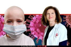 פרופ' מרים בן הרוש, יועצת האגודה למלחמה בסרטן ומנהלת באגודה פורום בנושא סרטן בילדים, ברקע: קורונה בילדים | עיבוד צילום: שולי סונגו ©