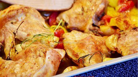 תפוחי אדמה ועוף ברוטב חרדל ודבש